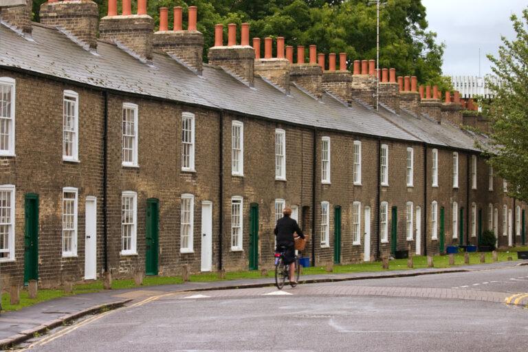 Row of characteristic english houses (Cambridge, UK)